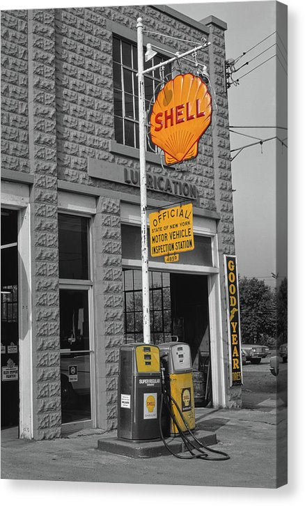 Vintage Gas Station - Canvas Print from Wallasso - The Wall Art Superstore