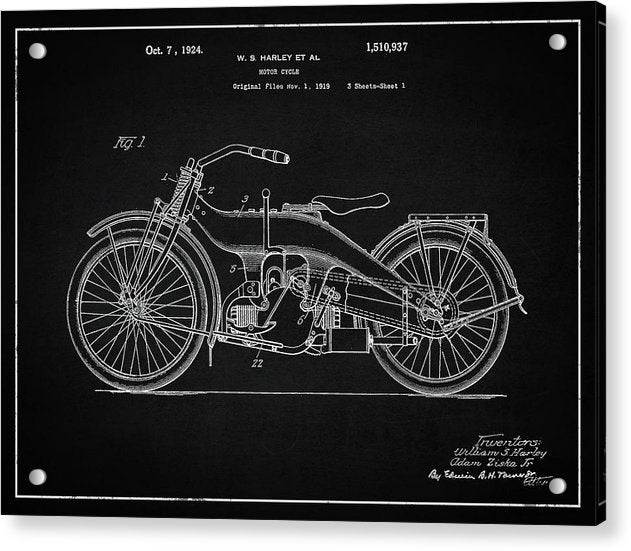 Vintage Harley Davidson Motorcycle Patent, 1924 - Acrylic Print from Wallasso - The Wall Art Superstore