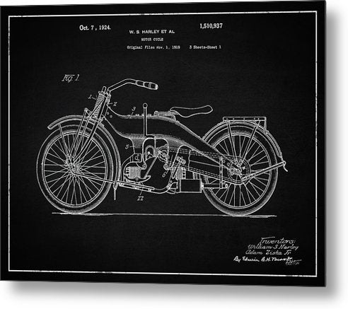 Vintage Harley Davidson Motorcycle Patent, 1924 - Metal Print from Wallasso - The Wall Art Superstore
