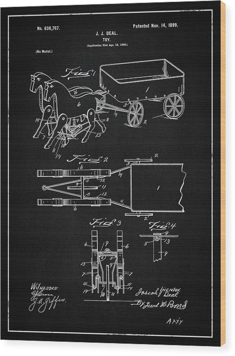 Vintage Horses and Cart Toy Patent, 1899 - Wood Print from Wallasso - The Wall Art Superstore