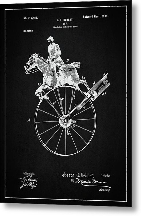 Vintage Horse Toy Patent, 1900 - Metal Print from Wallasso - The Wall Art Superstore
