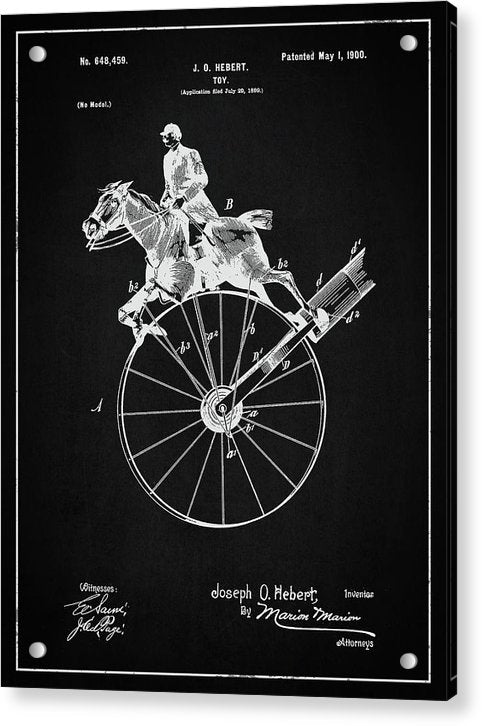 Vintage Horse Toy Patent, 1900 - Acrylic Print from Wallasso - The Wall Art Superstore