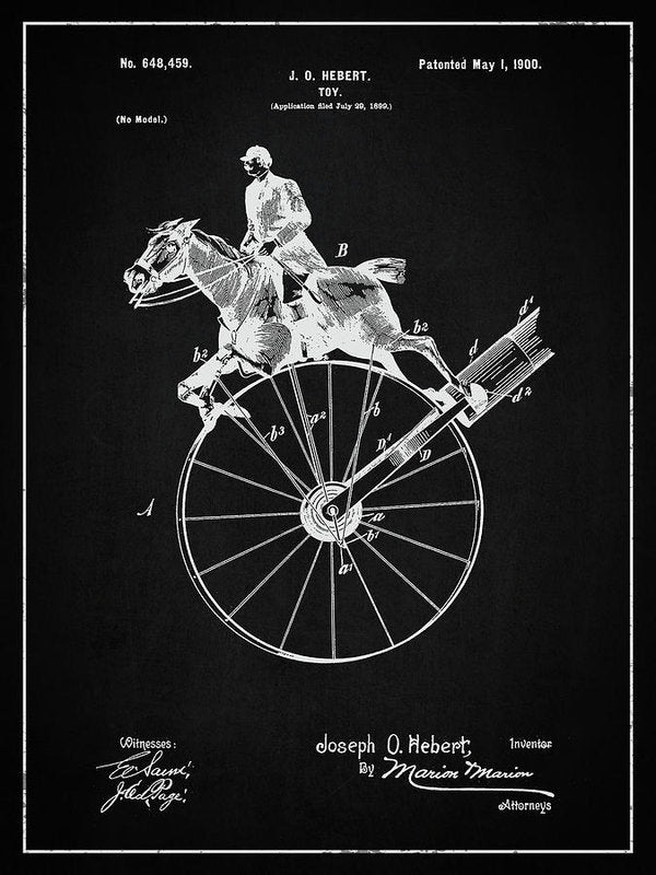 Vintage Horse Toy Patent, 1900 - Art Print from Wallasso - The Wall Art Superstore