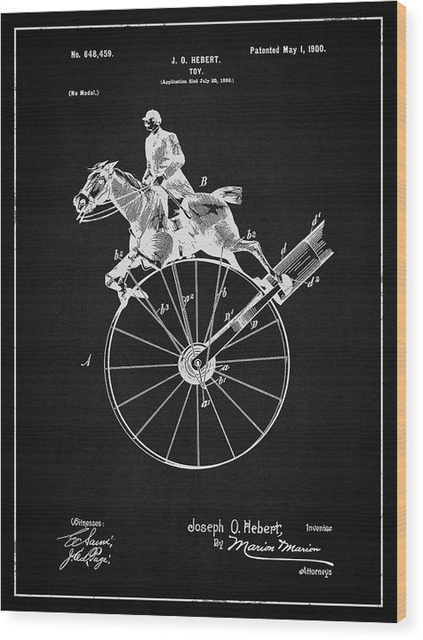 Vintage Horse Toy Patent, 1900 - Wood Print from Wallasso - The Wall Art Superstore