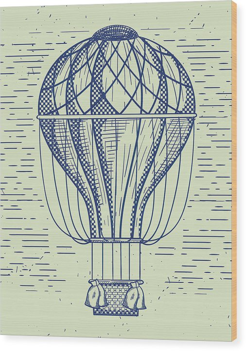 Vintage Hot Air Balloon Drawing - Wood Print from Wallasso - The Wall Art Superstore