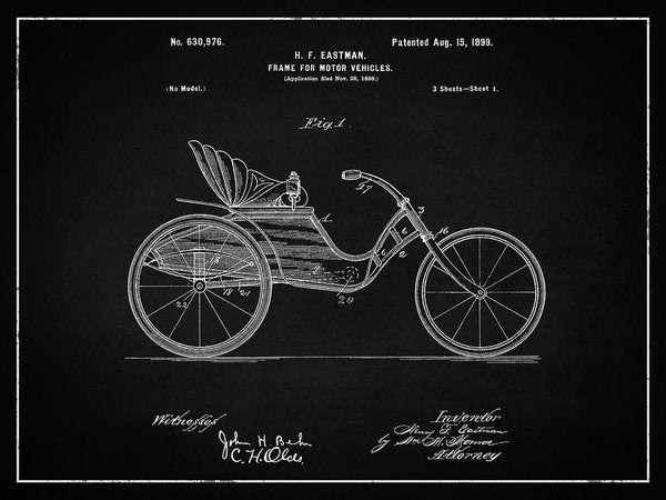 Vintage Motor Vehicle Patent, 1899 - Art Print from Wallasso - The Wall Art Superstore