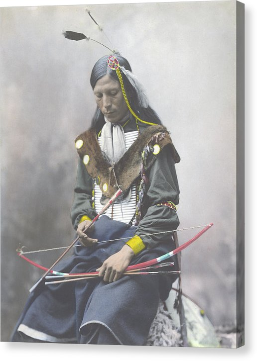 Vintage Native American Indian With Bow and Arrow, 1899 - Canvas Print from Wallasso - The Wall Art Superstore