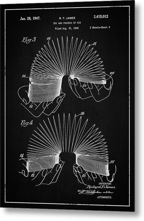 Vintage Slinky Patent, 1947 - Metal Print from Wallasso - The Wall Art Superstore