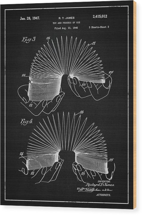 Vintage Slinky Patent, 1947 - Wood Print from Wallasso - The Wall Art Superstore