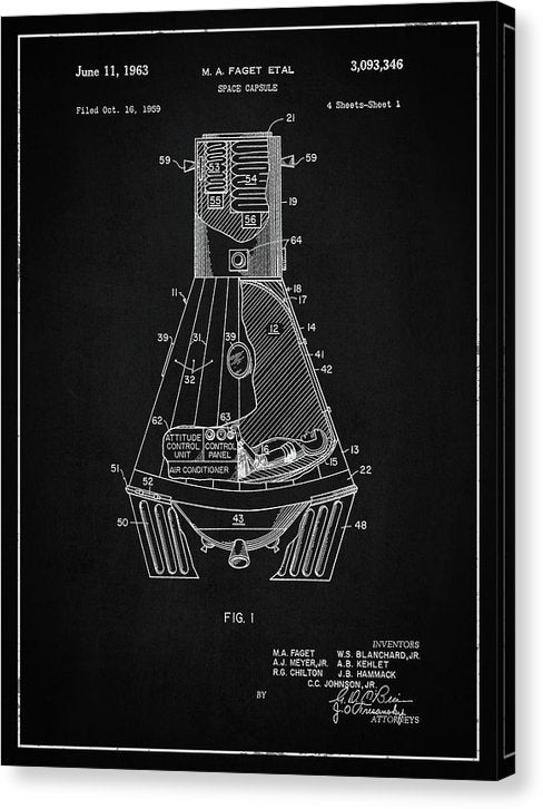 Vintage Space Capsule Patent, 1963 - Canvas Print from Wallasso - The Wall Art Superstore
