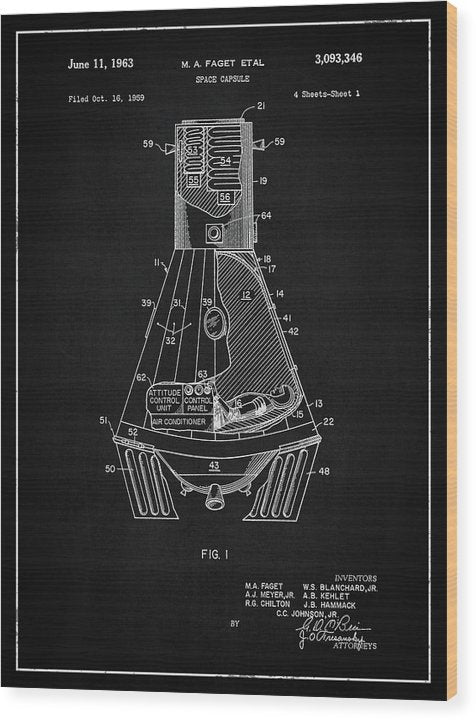 Vintage Space Capsule Patent, 1963 - Wood Print from Wallasso - The Wall Art Superstore