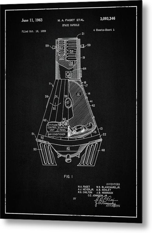 Vintage Space Capsule Patent, 1963 - Metal Print from Wallasso - The Wall Art Superstore