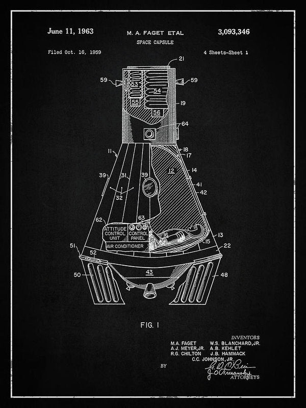 Vintage Space Capsule Patent, 1963 - Art Print from Wallasso - The Wall Art Superstore