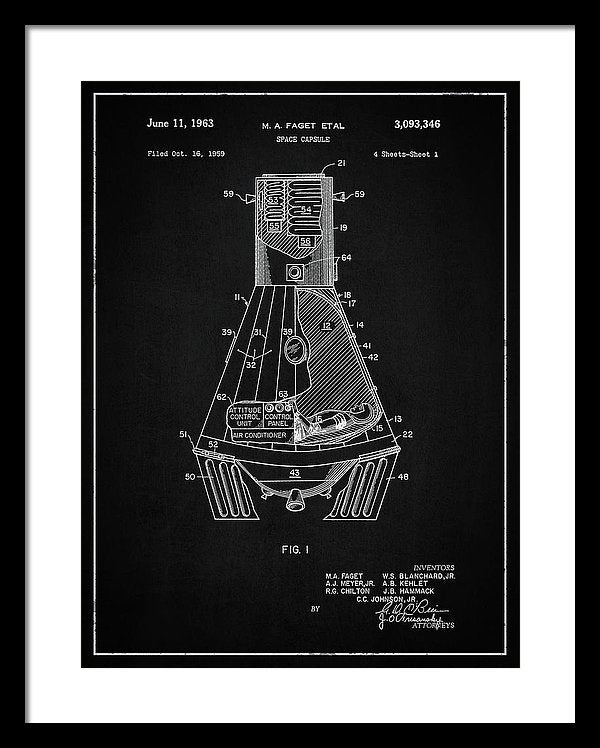 Vintage Space Capsule Patent, 1963 - Framed Print from Wallasso - The Wall Art Superstore