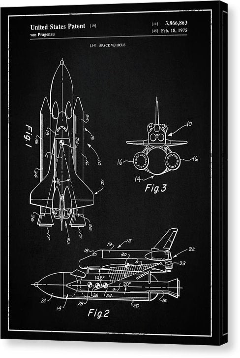Vintage Space Shuttle, Patent 1975 - Canvas Print from Wallasso - The Wall Art Superstore