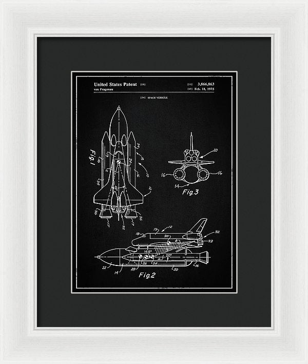 Vintage Space Shuttle, Patent 1975 - Framed Print from Wallasso - The Wall Art Superstore