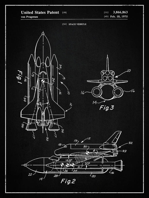 Vintage Space Shuttle, Patent 1975 - Art Print from Wallasso - The Wall Art Superstore