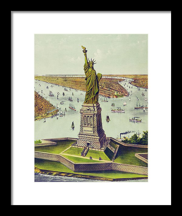 Vintage Statue of Liberty Illustration - Framed Print from Wallasso - The Wall Art Superstore