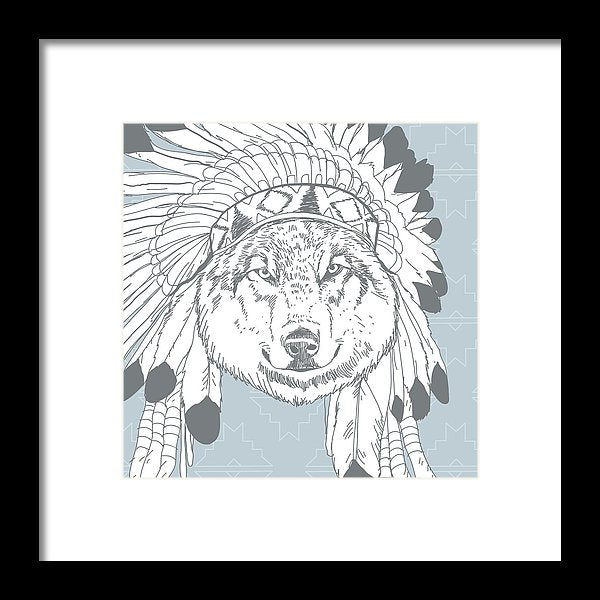 Boho Wolf In Native American Headdress - Framed Print from Wallasso - The Wall Art Superstore