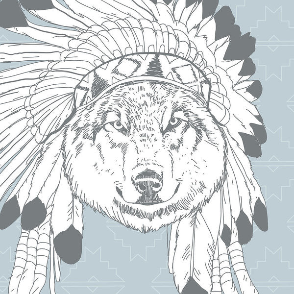Boho Wolf In Native American Headdress - Art Print from Wallasso - The Wall Art Superstore