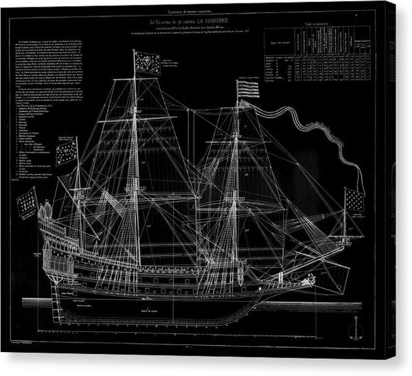 La Couronne Ship Diagram, 1886 - Canvas Print from Wallasso - The Wall Art Superstore