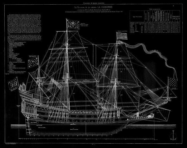 La Couronne Ship Diagram, 1886 - Art Print from Wallasso - The Wall Art Superstore