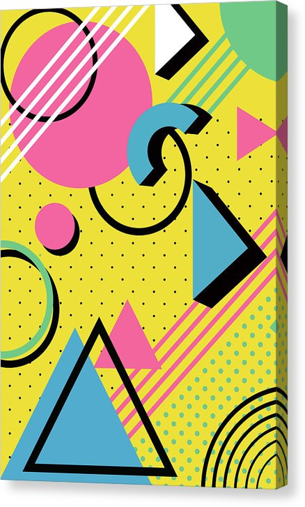 Retro 1980s Memphis Pattern - Canvas Print from Wallasso - The Wall Art Superstore