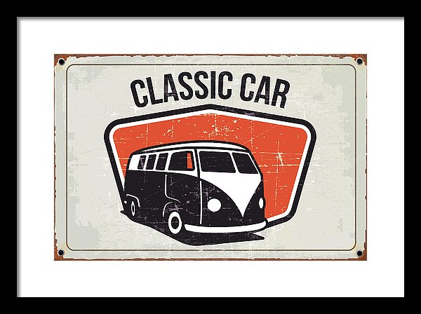 Rusty Orange Distressed Classic Volkswagen Bus Sign - Framed Print from Wallasso - The Wall Art Superstore