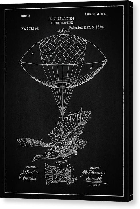 Vintage Flying Balloon Machine Patent, 1889 - Canvas Print from Wallasso - The Wall Art Superstore