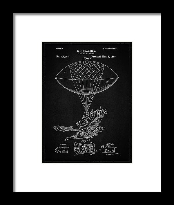 Vintage Flying Balloon Machine Patent, 1889 - Framed Print from Wallasso - The Wall Art Superstore