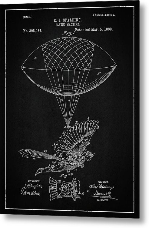 Vintage Flying Balloon Machine Patent, 1889 - Metal Print from Wallasso - The Wall Art Superstore