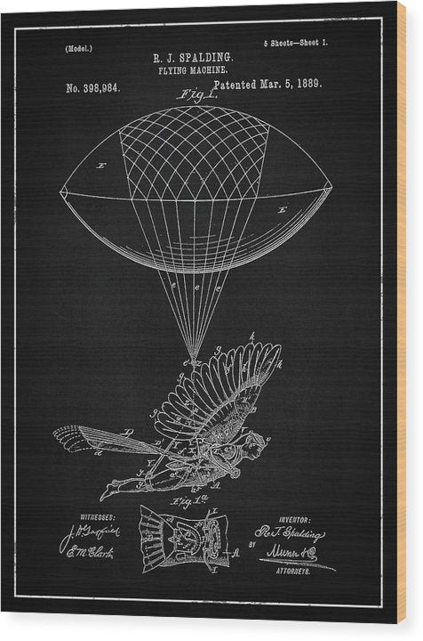 Vintage Flying Balloon Machine Patent, 1889 - Wood Print from Wallasso - The Wall Art Superstore