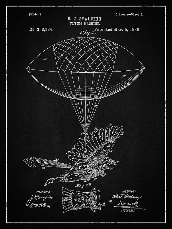 Vintage Flying Balloon Machine Patent, 1889 - Art Print from Wallasso - The Wall Art Superstore