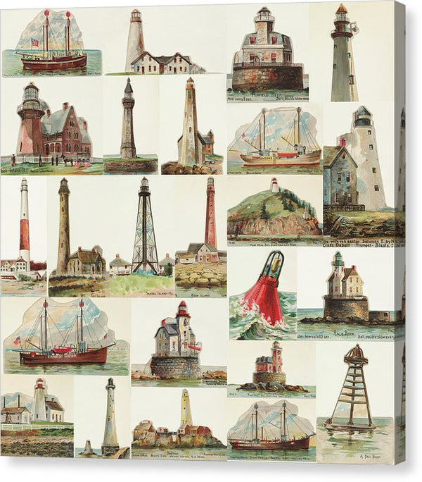 Vintage Lighthouse Collage - Canvas Print from Wallasso - The Wall Art Superstore