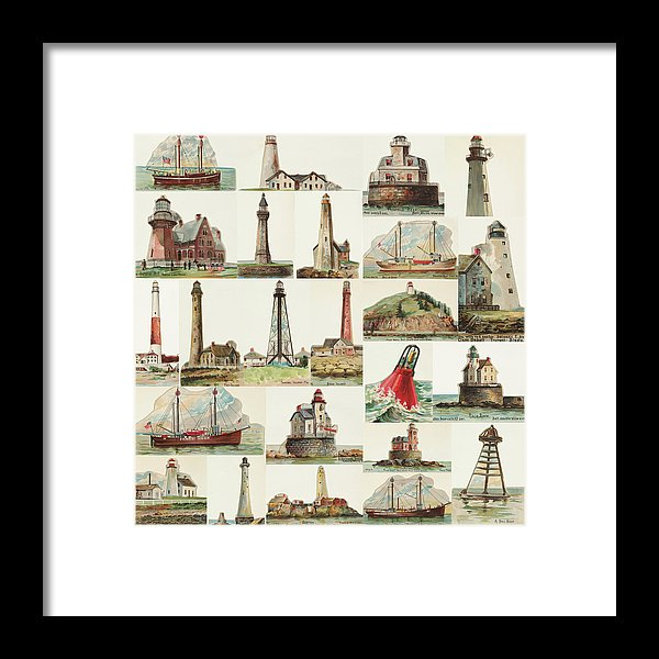 Vintage Lighthouse Collage - Framed Print from Wallasso - The Wall Art Superstore