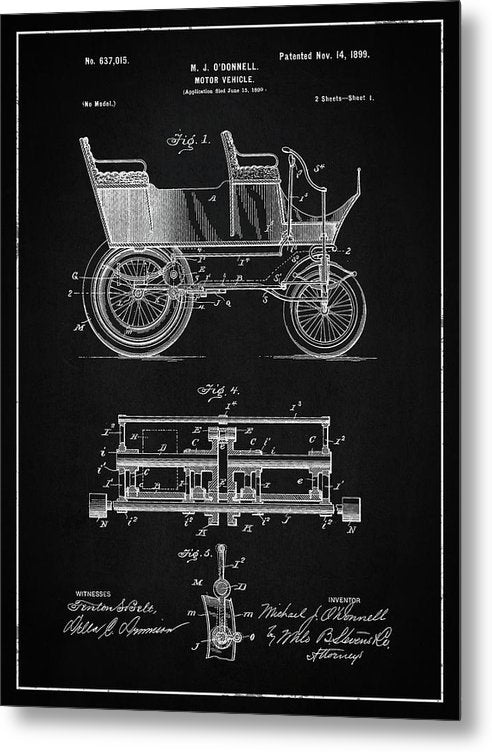 Vintage Motor Vehicle Patent, 1899 - Metal Print from Wallasso - The Wall Art Superstore