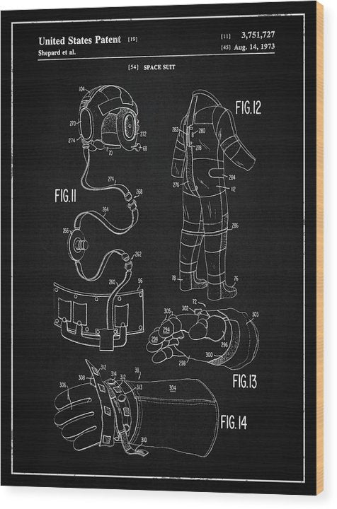 Vintage Space Suit Patent, 1973 - Wood Print from Wallasso - The Wall Art Superstore