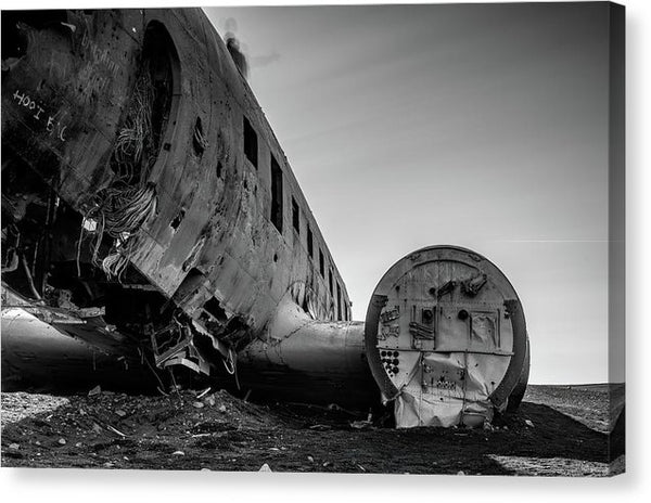 Abandoned Airplane Wreckage In Iceland - Canvas Print from Wallasso - The Wall Art Superstore