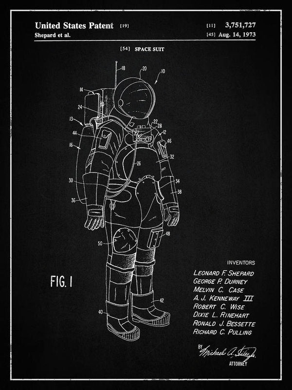 Vintage Space Suit Patent, 1973 - Art Print from Wallasso - The Wall Art Superstore