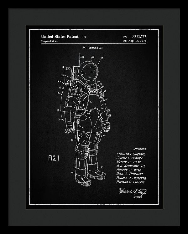 Vintage Space Suit Patent, 1973 - Framed Print from Wallasso - The Wall Art Superstore