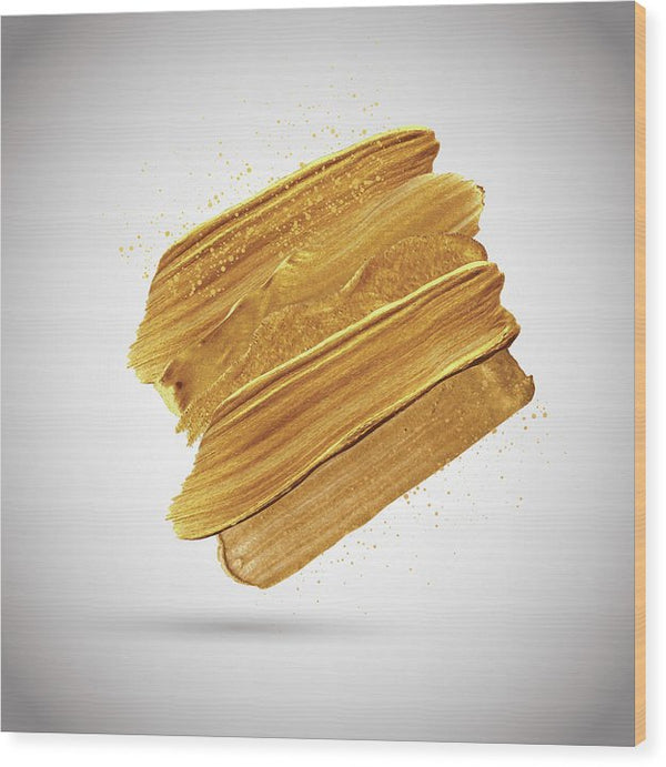 3D Gold Paint Splotch - Wood Print from Wallasso - The Wall Art Superstore