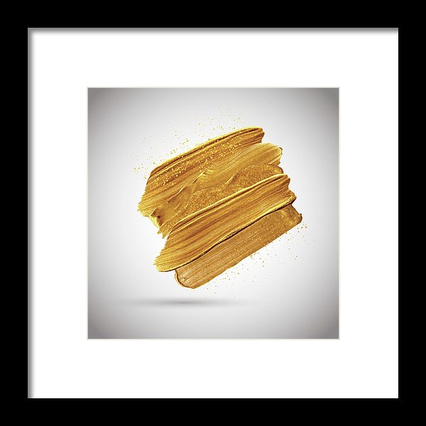 3D Gold Paint Splotch - Framed Print from Wallasso - The Wall Art Superstore