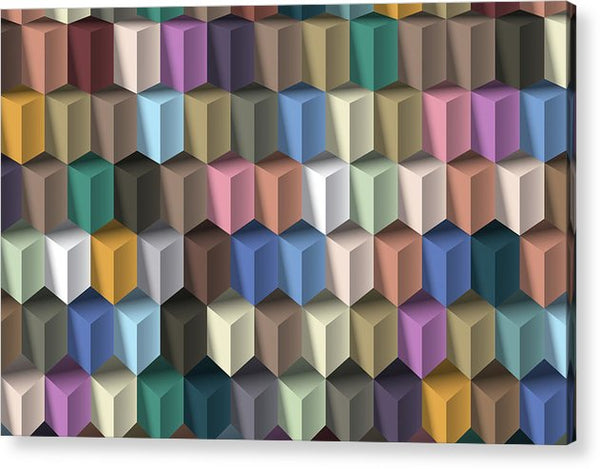 3D Isometric Illusion Pattern - Acrylic Print from Wallasso - The Wall Art Superstore