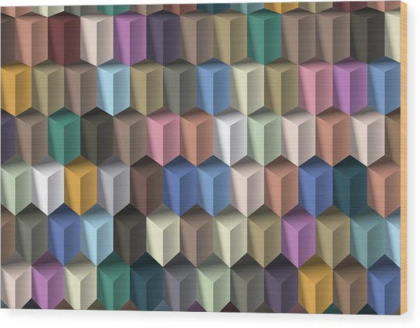 3D Isometric Illusion Pattern - Wood Print from Wallasso - The Wall Art Superstore