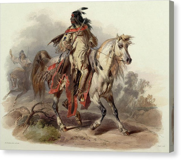A Blackfoot Indian On Horseback by Karl Bodmer, 1843 - Canvas Print from Wallasso - The Wall Art Superstore
