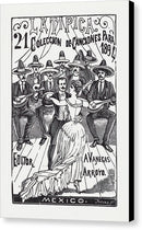 A Couple Dancing With Mariachis by Jose Guadalupe Posada, 1894 - Canvas Print from Wallasso - The Wall Art Superstore