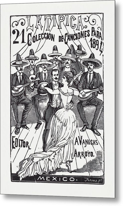 A Couple Dancing With Mariachis by Jose Guadalupe Posada, 1894 - Metal Print from Wallasso - The Wall Art Superstore