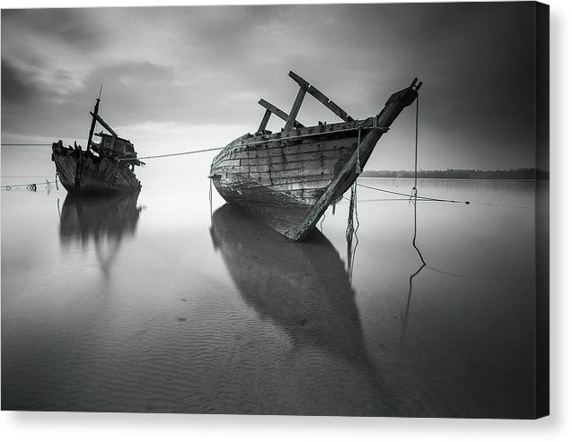 Abandoned Boats At Low Tide - Canvas Print from Wallasso - The Wall Art Superstore