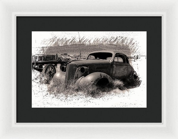 Abandoned Car At Bodie Ghost Town - Framed Print from Wallasso - The Wall Art Superstore