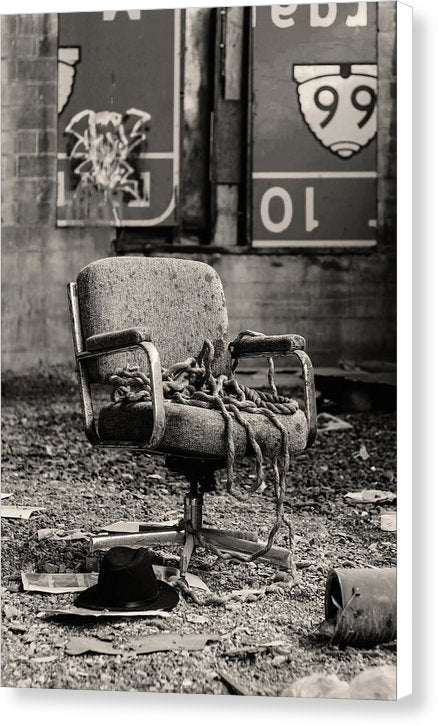 Abandoned Office Chair With Rope - Canvas Print from Wallasso - The Wall Art Superstore